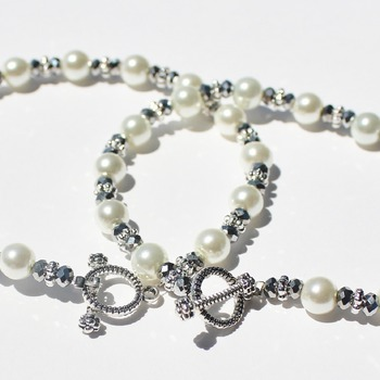 Glass Pearl and Gray Czech Bead Bracelets