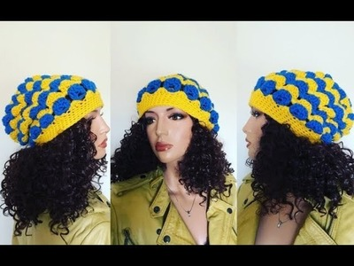 How to Crochet Jumbo Clusters Slouch Beanie Hat Pattern #674│by ThePatternFamily