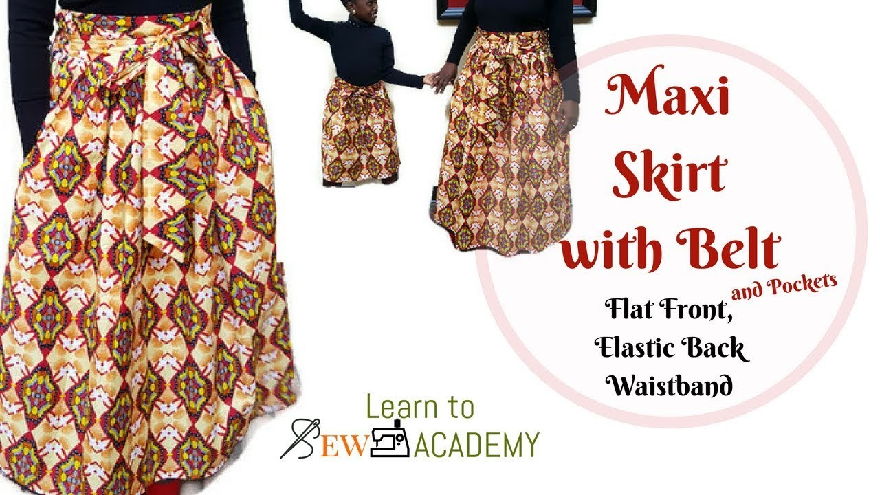 How to Make Maxi Gathered Skirt with Belt and Pockets (2)   Flat Front, Elastic Back Waistband