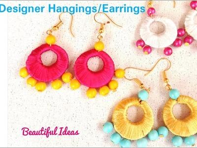 How to Make Silk thread Designer Hangings. Earrings at Home.Pearl Designer Earrings.Beautiful Ideas