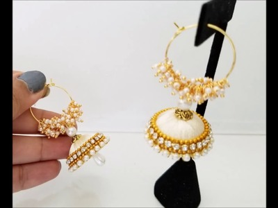 How to make silk thread jhumkas hoop style  ring model silk thread jhumkas