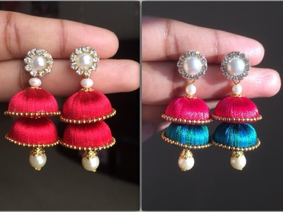 How to make Simple Double Layer Silk thread jhumkas easy step by step tutorial