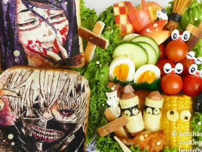 How to: Tokyo ghoul Halloween sandwiches bento (วิธีทำเบนโตะแซนด์วิชปอปโตเกียว)(東京喰種ハロウィン弁当の作り方)