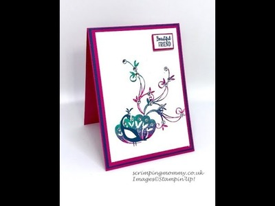 Inky block technique with beautiful peacock Stampin' Up!