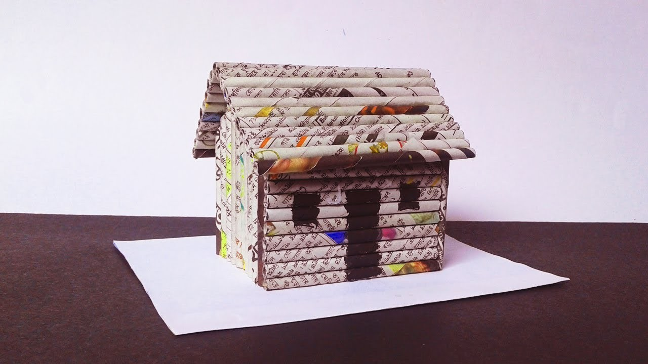 Newspaper Crafts How To Make A Paper House Very Easy