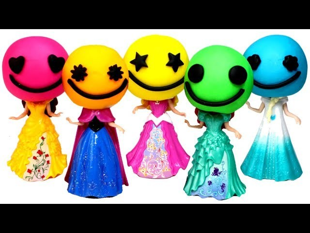 Play Doh Disney Princess Dresses MagiClip Dolls Ariel Elsa Belle Anna Play Doh Dress Fun for Kids