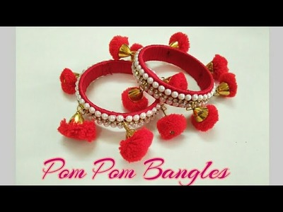 Pom Pom Bangles.Silk Thread Pom Pom Bangles.How to make Pom Pom Bangles from old waste bangles