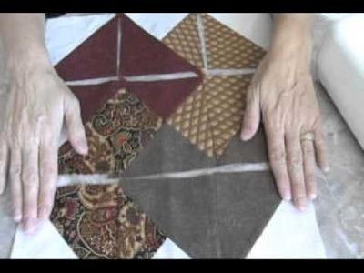 Quilting a card trick quilt block.