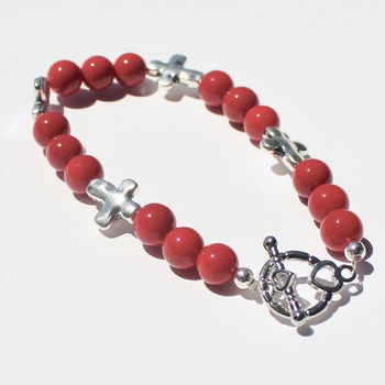 Red Bead Bracelet with Cross Accent Beads