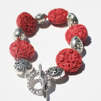 Red Flower Bead Bracelet with Heart Accents