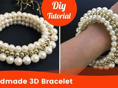 Simple 3D Stretch Bracelet from Pearls and Beads for Beginners. Wedding Jewelry.