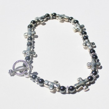 Stainless Steel Cross and Hematite Bead Bracelet