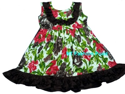 Summer baby girl flutter sleeves dress | Kids pearl dresses | Cutting & Stitching