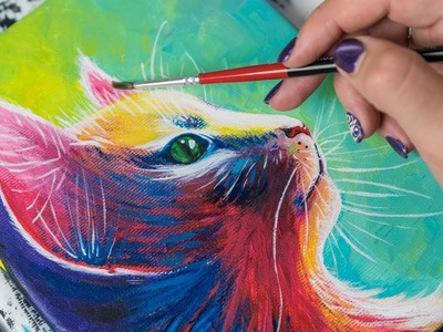 The Colorfull Sweet Cat - Acrylic painting. Homemade Illustration (4k)