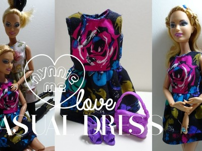 Barbie Casual Dress   DIY - How to make ; Casual Dress for Barbie Doll   nynnie me
