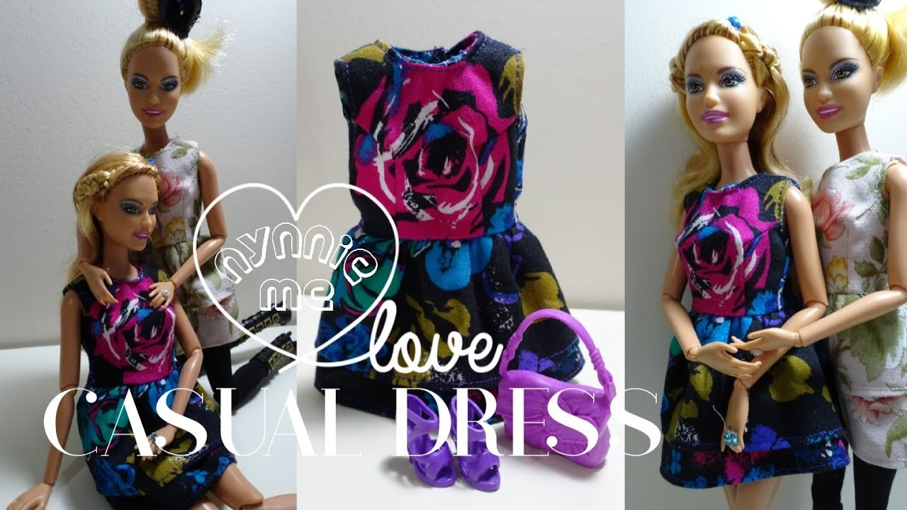 Barbie Casual Dress | DIY - How to make ; Casual Dress for Barbie Doll | nynnie me