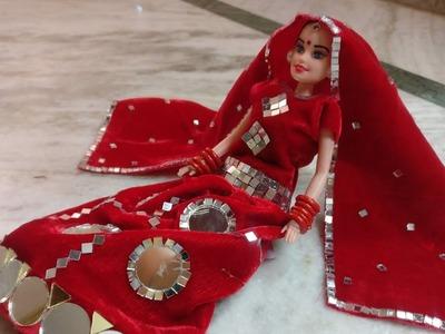 DIY Barbie with mirror dress # traditional dress#Kalpana saranam