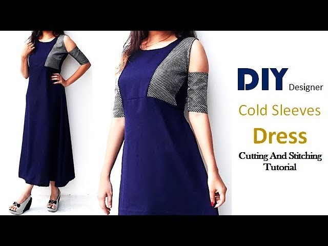 DIY Designer Cold Sleeves Dress Cutting And Stitching Full Tutorial
