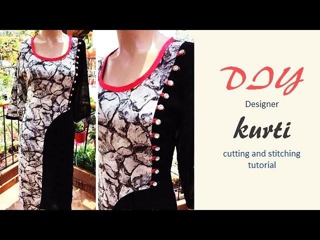 DIY Designer Kurti Cutting And Stitching Tutorial