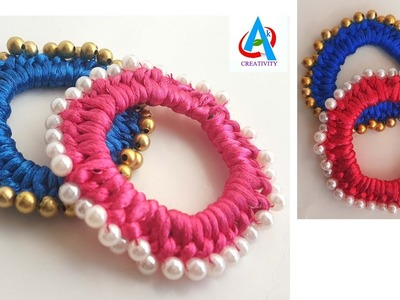 DIY | Hair Rubber Band Making tutorial. making rubber band using pearls  simple and easy
