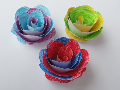DIY: How to Make Colourful Small Rose With Paper!!!!