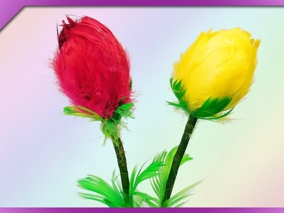 DIY How to make tulips out of feathers and styrofoam eggs (ENG Subtitles) - Speed up #462