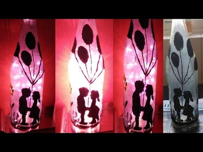 DIY Lamp|DIY Frosted Bottle Lamp.Bottle Art for kids craft activity|DIY: How to Make Bottle Light