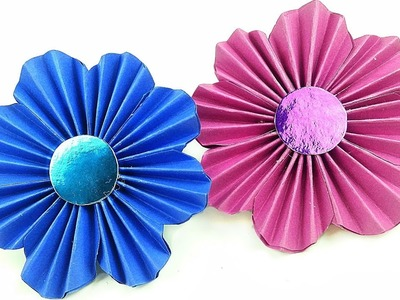 Diy making simple paper rosettes flower tutorial backdrop. Paper flowers decorations easy for kids
