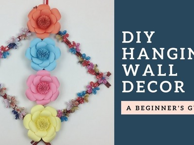 DIY Simple Room Decor! Paper Flower Wall Hanging - Home Wall Decoration Ideas | Hanging Flower Craft