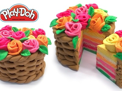 Dolls Food . Flower Basket Cake. Play Doh for Kids and Beginners. DIY for Kids Mother's Day Gift