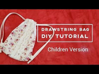 Drawstring bag diy tutorial   Children version 【手作包教学】儿童束口袋❤❤