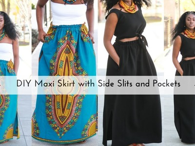Easy DIY Maxi Skirt with Side Slits and Pockets Part 2