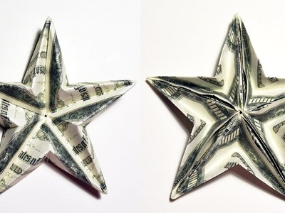 Easy Money Big double-sided STAR Origami Dollar Tutorial DIY Folded No glue and tape