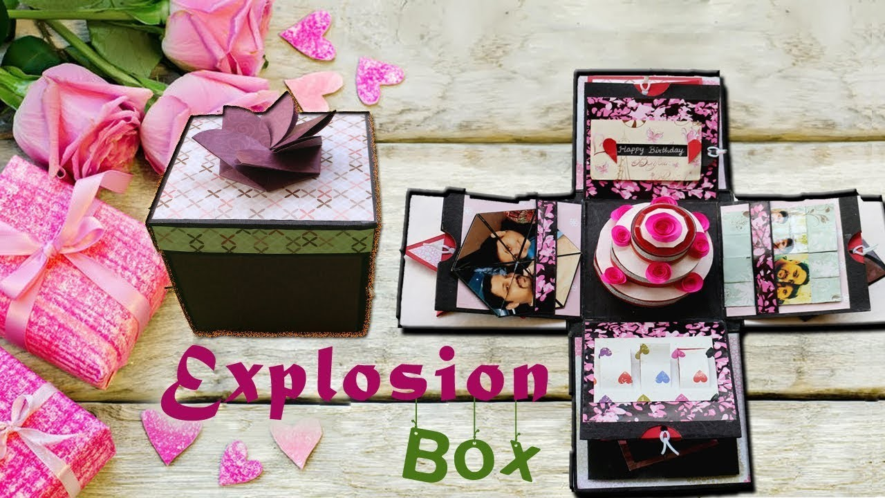 EXPLOSION BOX WITH BIRTHDAY CAKE DIY EXPLOSION BOX BIRTHDAY GIFT