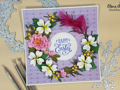 Garden Notes Peony & Dogwood Easter Wreath Card with Elizabeth Craft Designs