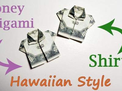 HAWAIIAN STYLE Money SHIRT Origami Dollar Tutorial DIY Folded No glue and tape