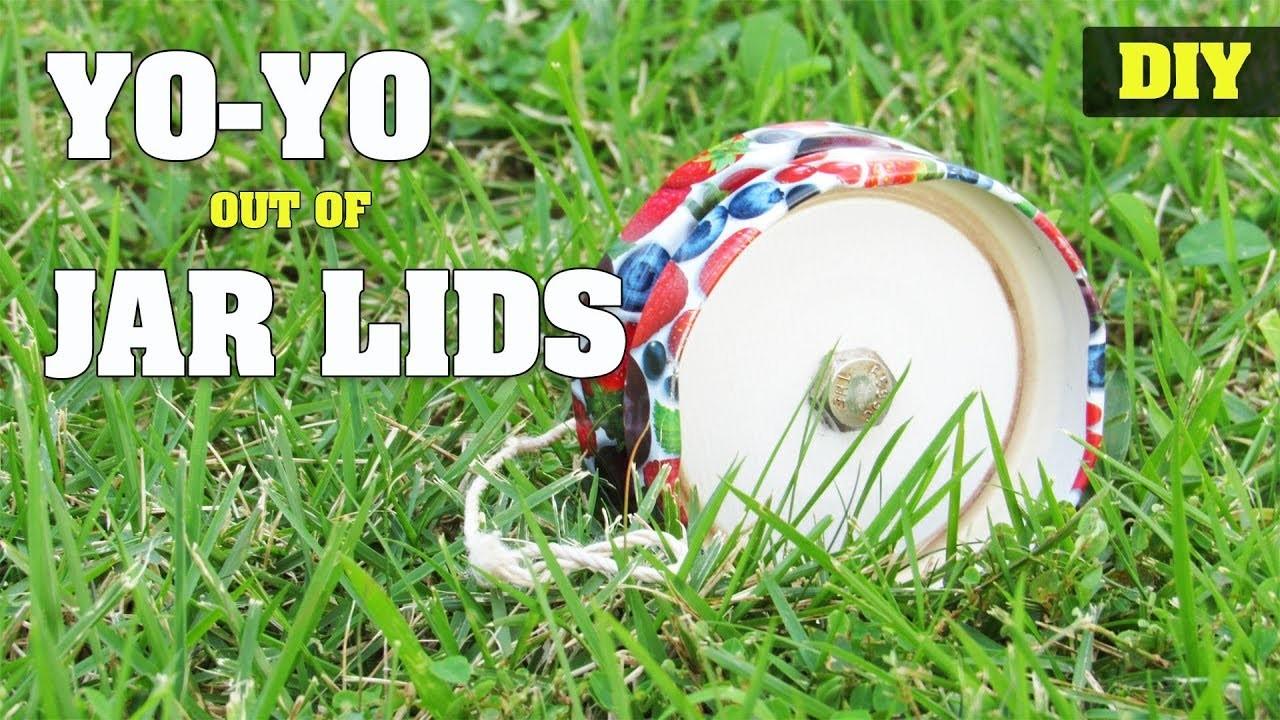 How to make a YoYo out of Jar Lids   DIY easy yo-yo toy tutorial