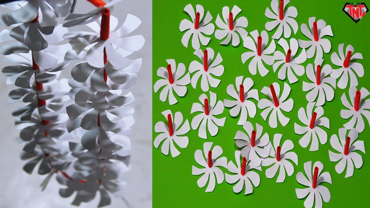 How To Make Paper Flowers Necklace || DIY Paper Night Jasmine Flower