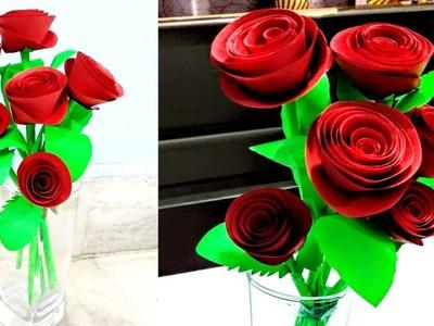 How To Make Paper Rose Flower-DIY Handmade Craft-Paper Craft