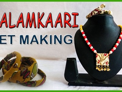 Kalamkari Jewellery Making || How to Make Kalamkari Chain and Bangles  || kruthi DIY craft ideas