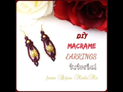 Macrame earrings tutorial. DIY macrame jewelry & crafts. How to make micro macrame earrings.