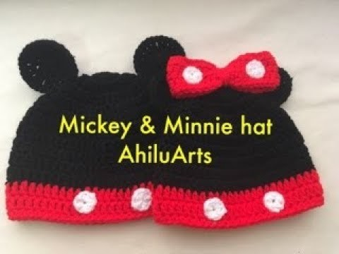 Mickey & Minnie beanie - mickey & minnie hat - Mickey & minnie - DIY - crochet - tutorial - English