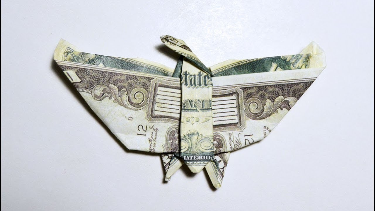 Money EAGLE Origami Dollar Tutorial DIY Folded No glue and tape