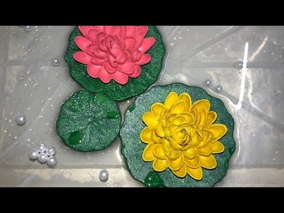 Pistachio Shells & Foam Sheet Floating Lotus Flowers Making. DIY. Tutorial Best Out Of Waste