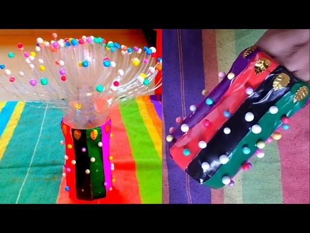 Plastic bottle craft ideas craft diy flower vase for Bottle decoration ideas kids