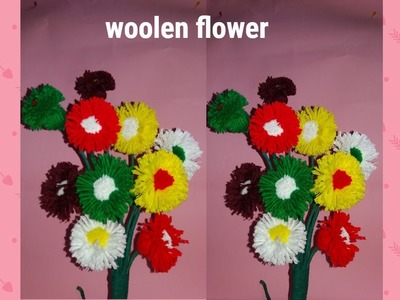 Super Easy Woolen flower ,woolen craft,best from woolen|Handmade Room Decoration Idea