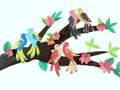 Wall Decor with Tree Branches. Wall Decoration with Birds. diy tree branch decor