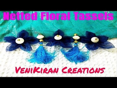 111:How to Make Netted Floral Saree Tassel.Kuchu design with Beads @ Home - Design 50::Tutorial