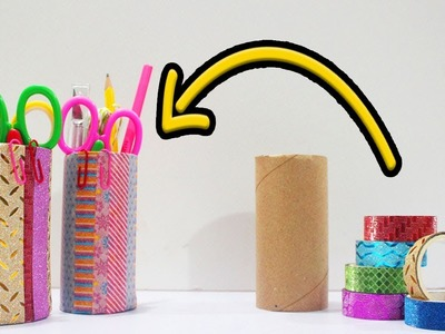 5 Minute DIY | How to Make Pen holder with Tissue Roll | Washi Tape Hacks