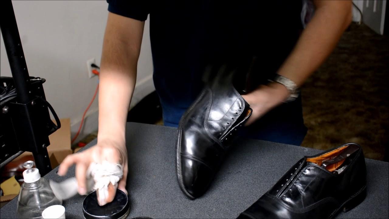 ASMR How I mirrorshine Allen Edmonds black Park Avenue captoe oxford shoes